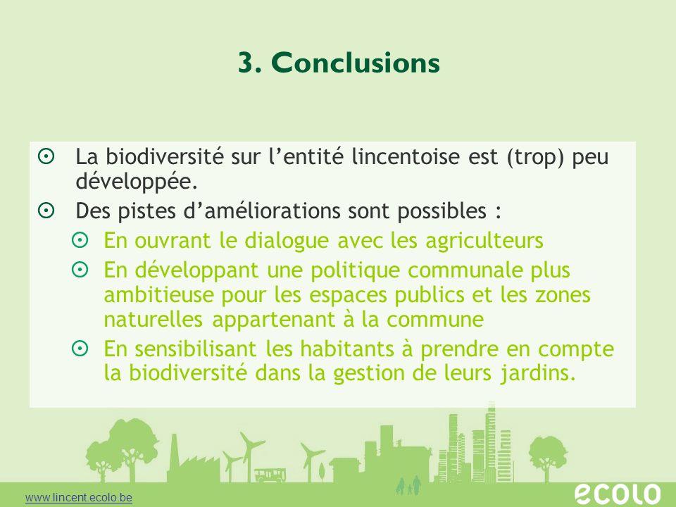 3. Conclusions La biodiversité sur lentité lincentoise est (trop) peu développée. Des pistes daméliorations sont possibles : En ouvrant le dialogue av