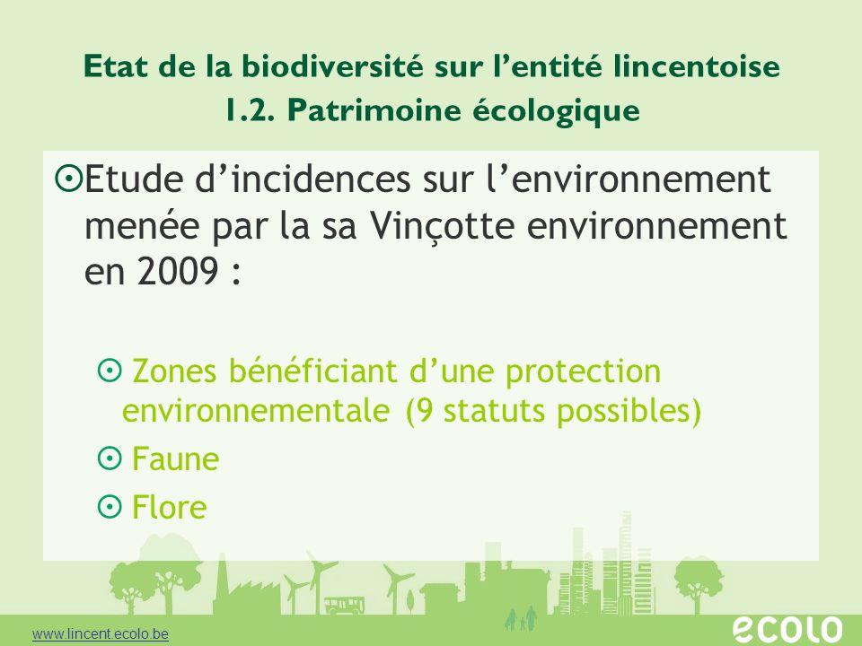 Etat de la biodiversité sur lentité lincentoise 1.2. Patrimoine écologique Etude dincidences sur lenvironnement menée par la sa Vinçotte environnement