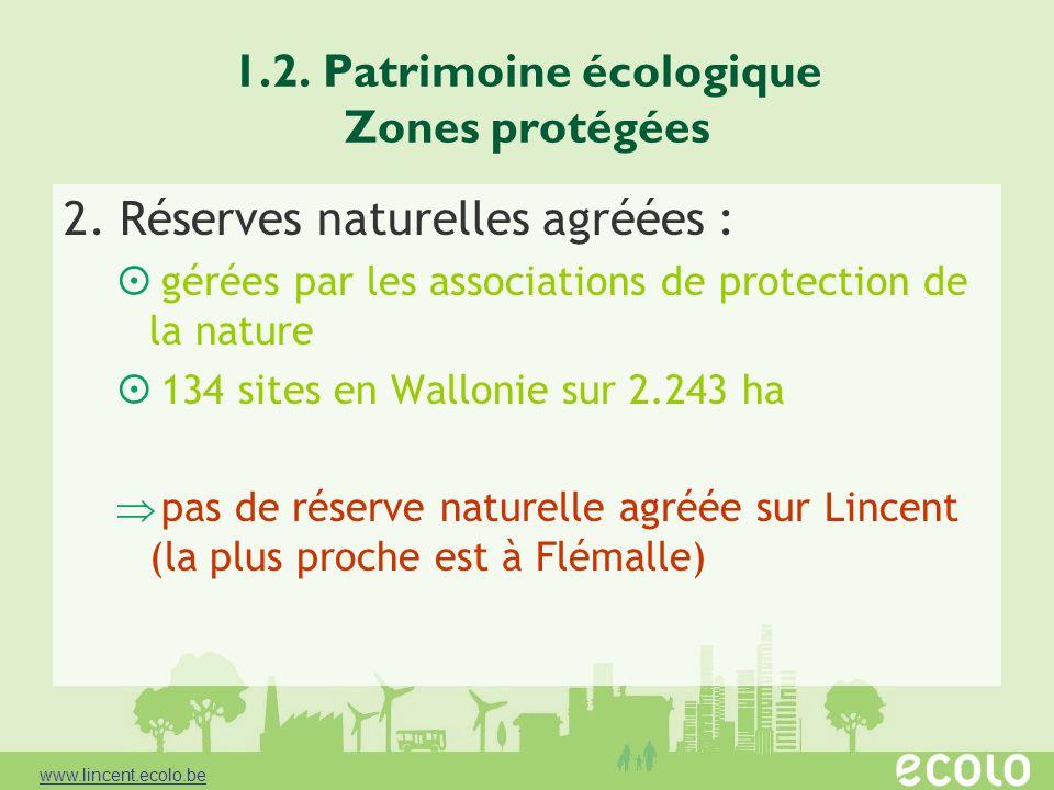1.2. Patrimoine écologique Zones protégées 2. Réserves naturelles agréées : gérées par les associations de protection de la nature 134 sites en Wallon