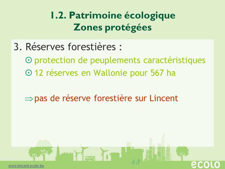 1.2. Patrimoine écologique Zones protégées 3. Réserves forestières : protection de peuplements caractéristiques 12 réserves en Wallonie pour 567 ha pa