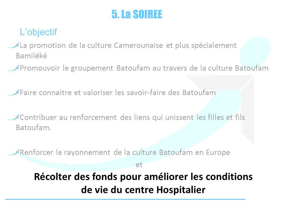5. La SOIREE La promotion de la culture Camerounaise et plus spécialement Bamiléké Promouvoir le groupement Batoufam au travers de la culture Batoufam