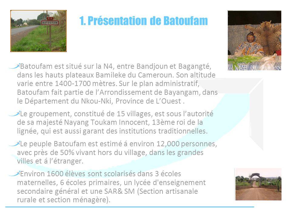1. Présentation de Batoufam Batoufam est situé sur la N4, entre Bandjoun et Bagangté, dans les hauts plateaux Bamileke du Cameroun. Son altitude varie