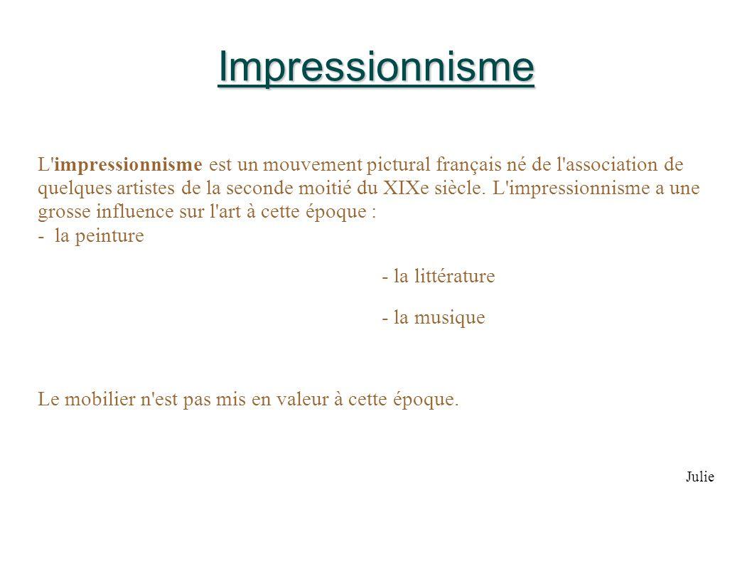 Impressionnisme L'impressionnisme est un mouvement pictural français né de l'association de quelques artistes de la seconde moitié du XIXe siècle. L'i