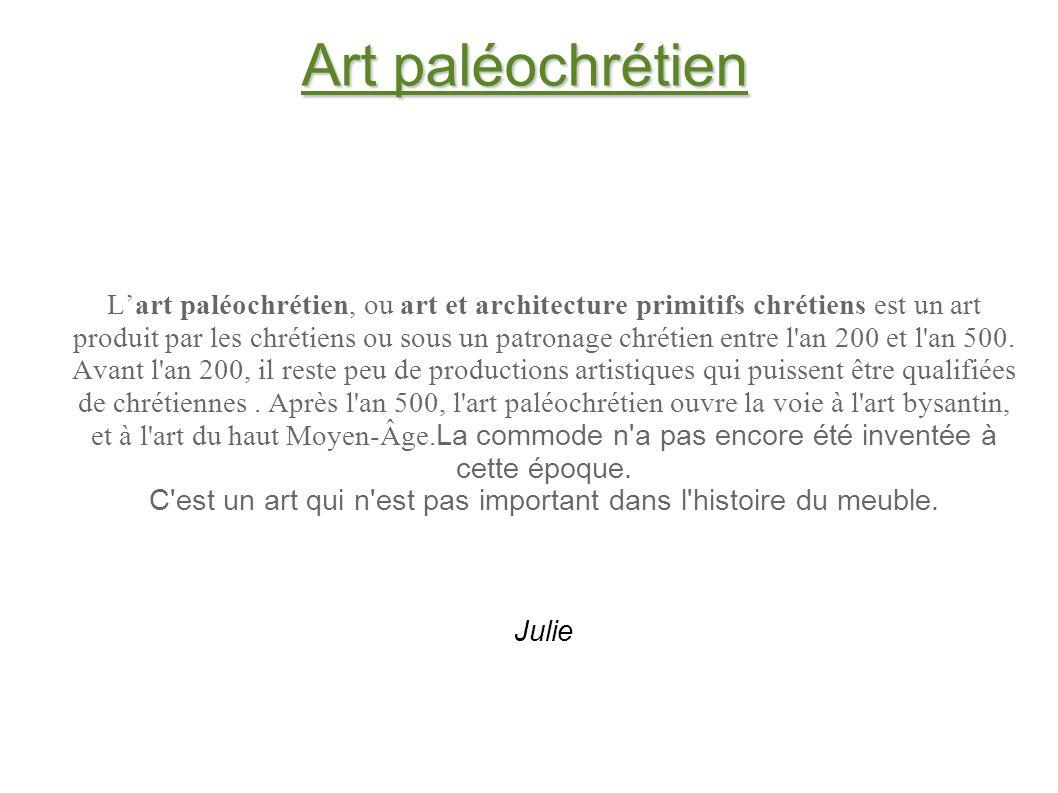 Art paléochrétien Lart paléochrétien, ou art et architecture primitifs chrétiens est un art produit par les chrétiens ou sous un patronage chrétien en