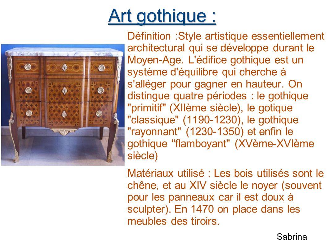 Art gothique : Définition :Style artistique essentiellement architectural qui se développe durant le Moyen-Age. L'édifice gothique est un système d'éq