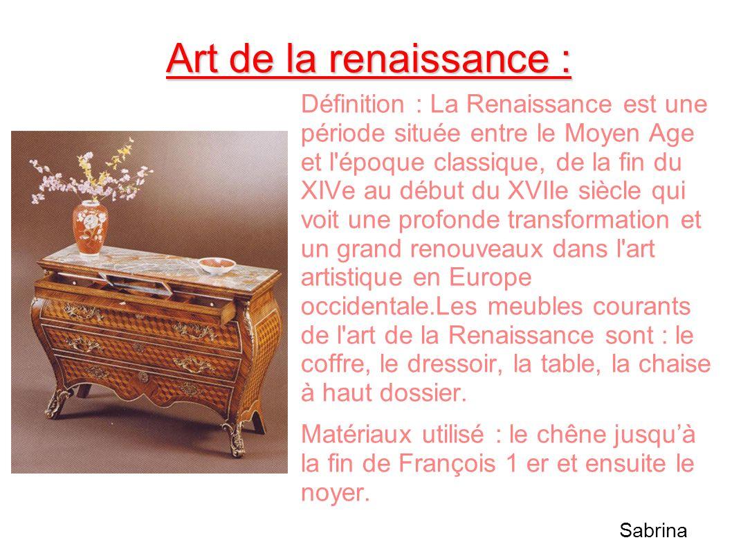 Art de la renaissance : Définition : La Renaissance est une période située entre le Moyen Age et l'époque classique, de la fin du XIVe au début du XVI