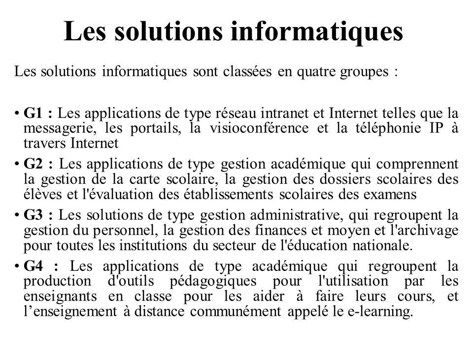 Les solutions informatiques Les solutions informatiques sont classées en quatre groupes : G1 : Les applications de type réseau intranet et Internet te