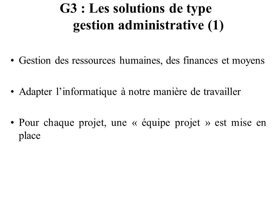 G3 : Les solutions de type gestion administrative (1) Gestion des ressources humaines, des finances et moyens Adapter linformatique à notre manière de