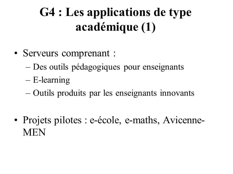 G4 : Les applications de type académique (1) Serveurs comprenant : –Des outils pédagogiques pour enseignants –E-learning –Outils produits par les ense