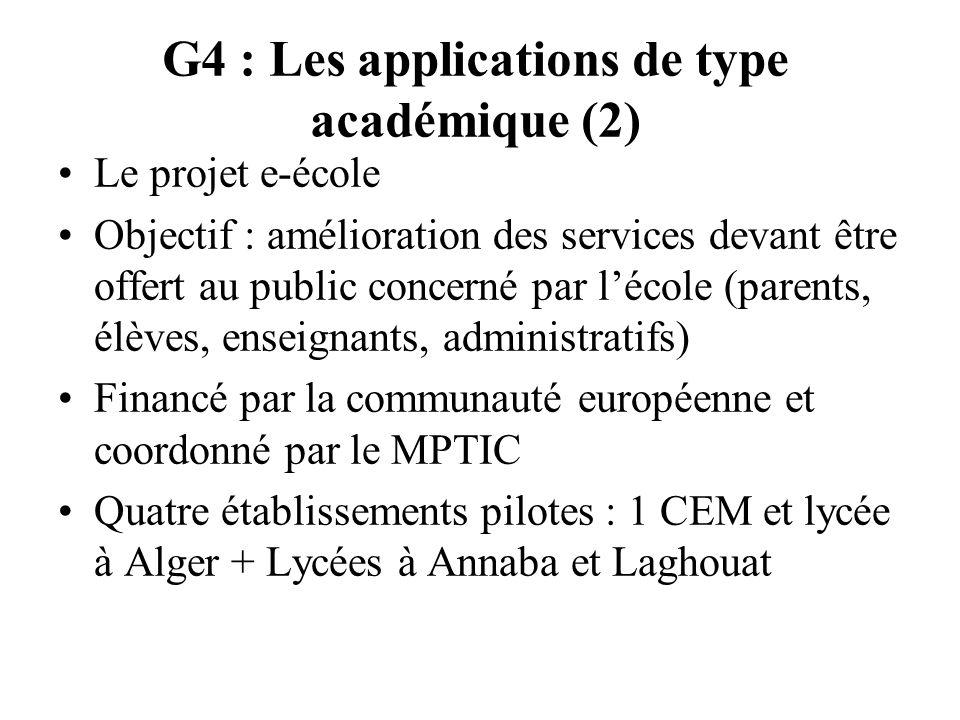 G4 : Les applications de type académique (2) Le projet e-école Objectif : amélioration des services devant être offert au public concerné par lécole (