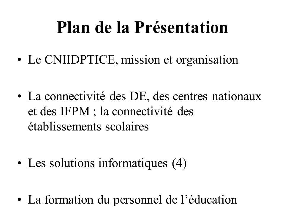 Plan de la Présentation Le CNIIDPTICE, mission et organisation La connectivité des DE, des centres nationaux et des IFPM ; la connectivité des établis