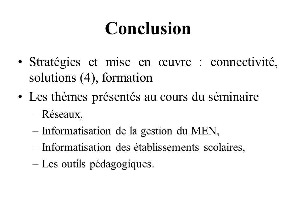 Conclusion Stratégies et mise en œuvre : connectivité, solutions (4), formation Les thèmes présentés au cours du séminaire –Réseaux, –Informatisation