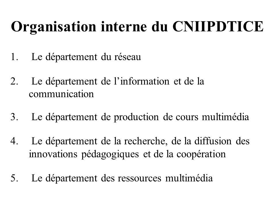 Organisation interne du CNIIPDTICE 1. Le département du réseau 2. Le département de linformation et de la communication 3. Le département de productio
