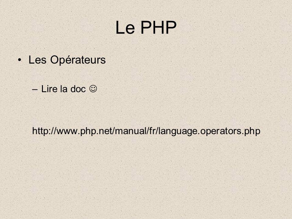 Le PHP Les Opérateurs –Lire la doc http://www.php.net/manual/fr/language.operators.php