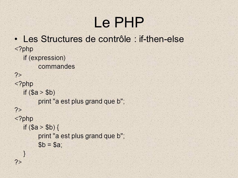 Le PHP Les Structures de contrôle : if-then-else <?php if (expression) commandes ?> <?php if ($a > $b) print a est plus grand que b ; ?> <?php if ($a > $b) { print a est plus grand que b ; $b = $a; } ?>