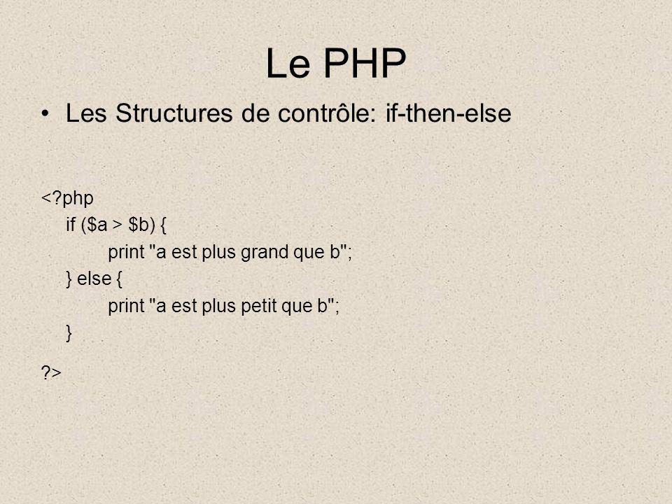 Le PHP Les Structures de contrôle: if-then-else <?php if ($a > $b) { print a est plus grand que b ; } else { print a est plus petit que b ; } ?>