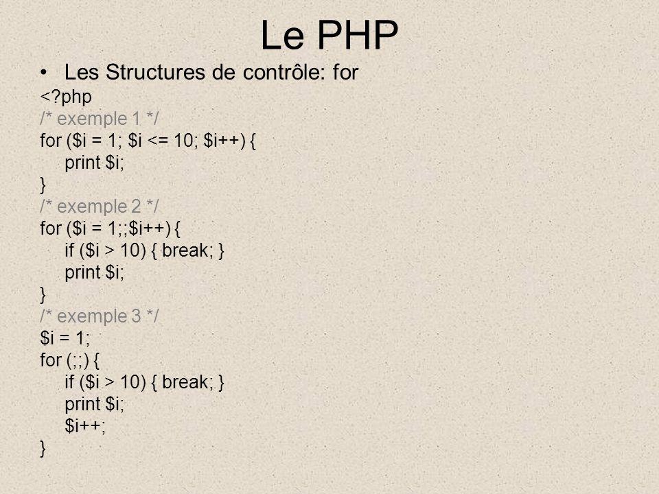 Le PHP Les Structures de contrôle: for <?php /* exemple 1 */ for ($i = 1; $i <= 10; $i++) { print $i; } /* exemple 2 */ for ($i = 1;;$i++) { if ($i > 10) { break; } print $i; } /* exemple 3 */ $i = 1; for (;;) { if ($i > 10) { break; } print $i; $i++; }