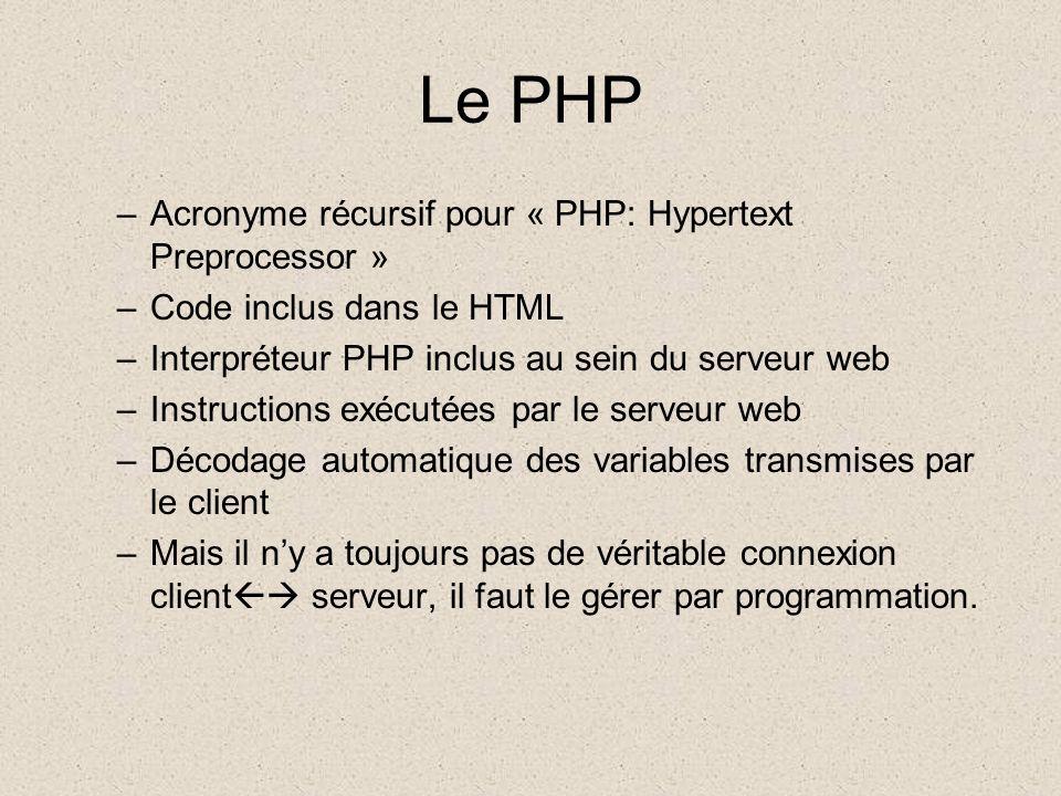 Le PHP –Acronyme récursif pour « PHP: Hypertext Preprocessor » –Code inclus dans le HTML –Interpréteur PHP inclus au sein du serveur web –Instructions exécutées par le serveur web –Décodage automatique des variables transmises par le client –Mais il ny a toujours pas de véritable connexion client serveur, il faut le gérer par programmation.