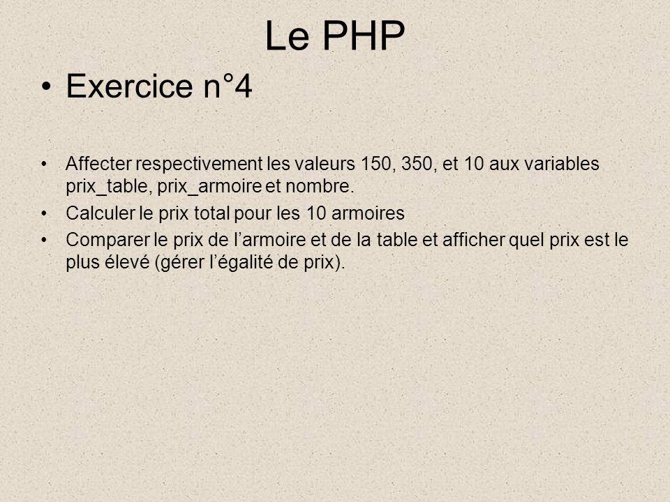 Le PHP Exercice n°4 Affecter respectivement les valeurs 150, 350, et 10 aux variables prix_table, prix_armoire et nombre.