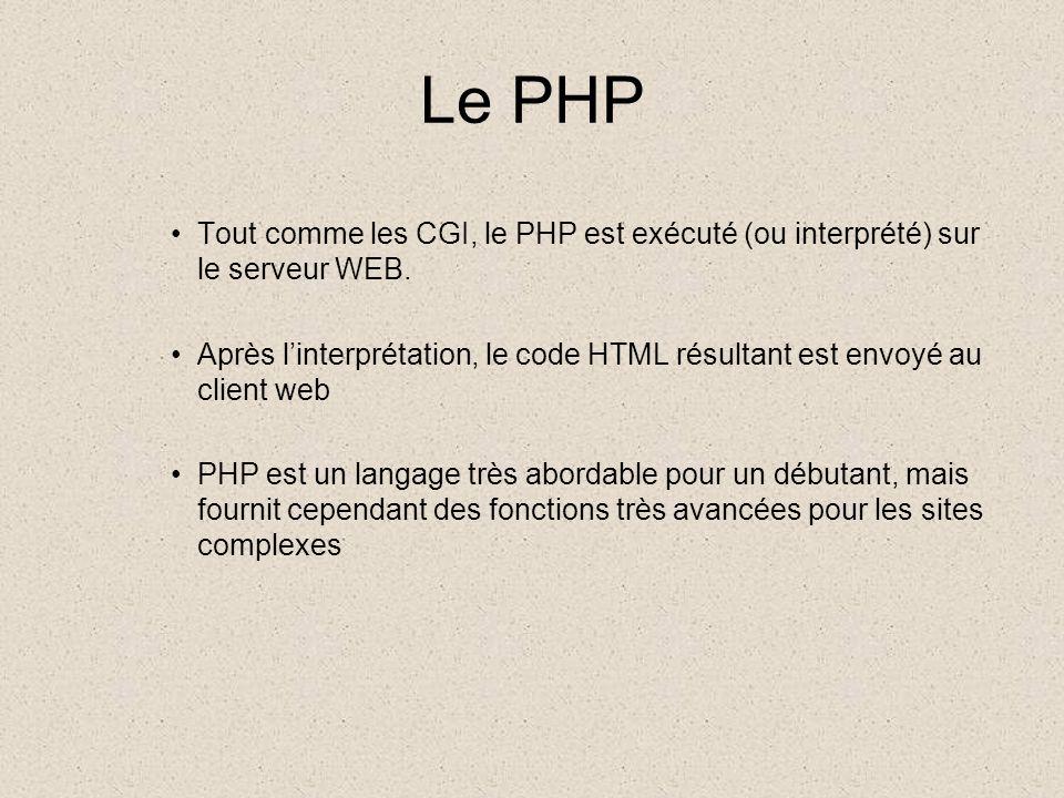 Le PHP Tout comme les CGI, le PHP est exécuté (ou interprété) sur le serveur WEB.