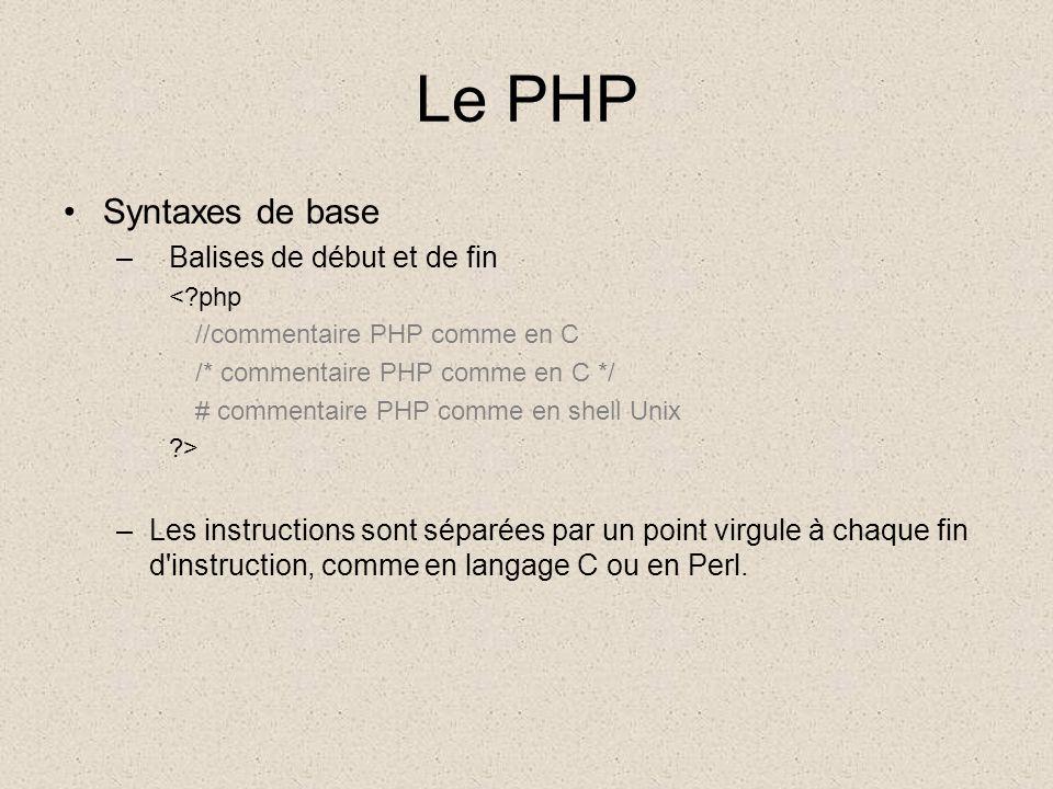 Le PHP Types de variables –Nous utiliserons principalement 4 types de base: Booléen (TRUE ou FALSE) Ex.