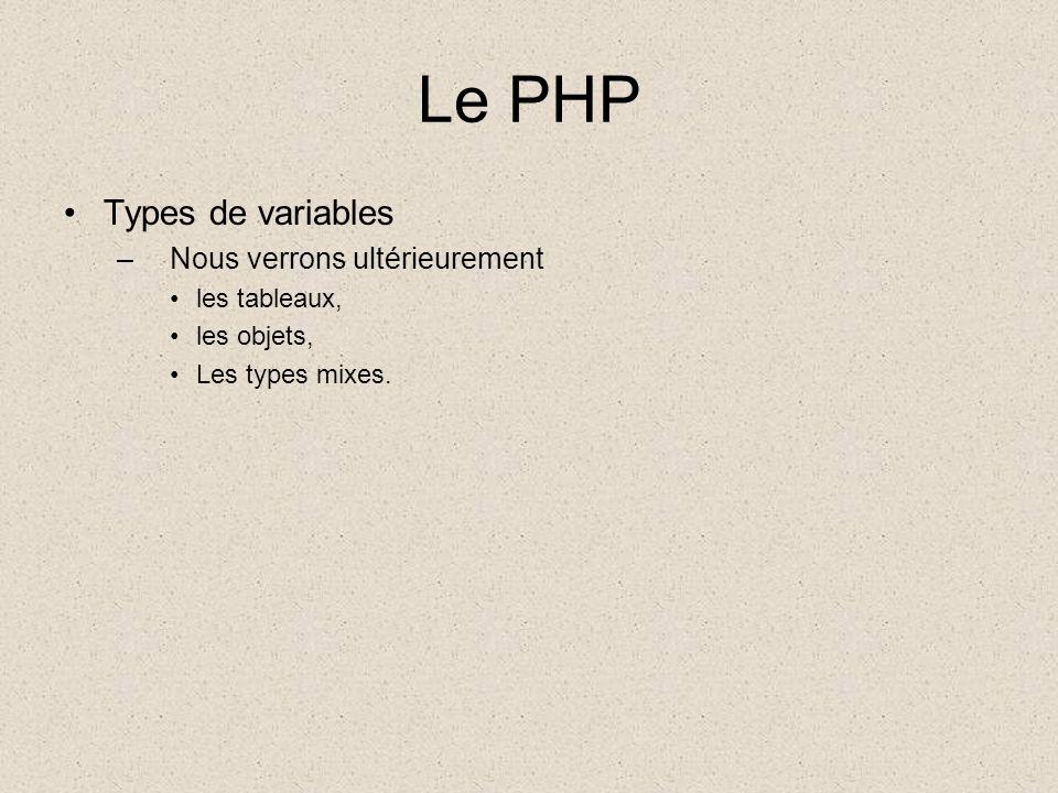 Le PHP Types de variables –Nous verrons ultérieurement les tableaux, les objets, Les types mixes.