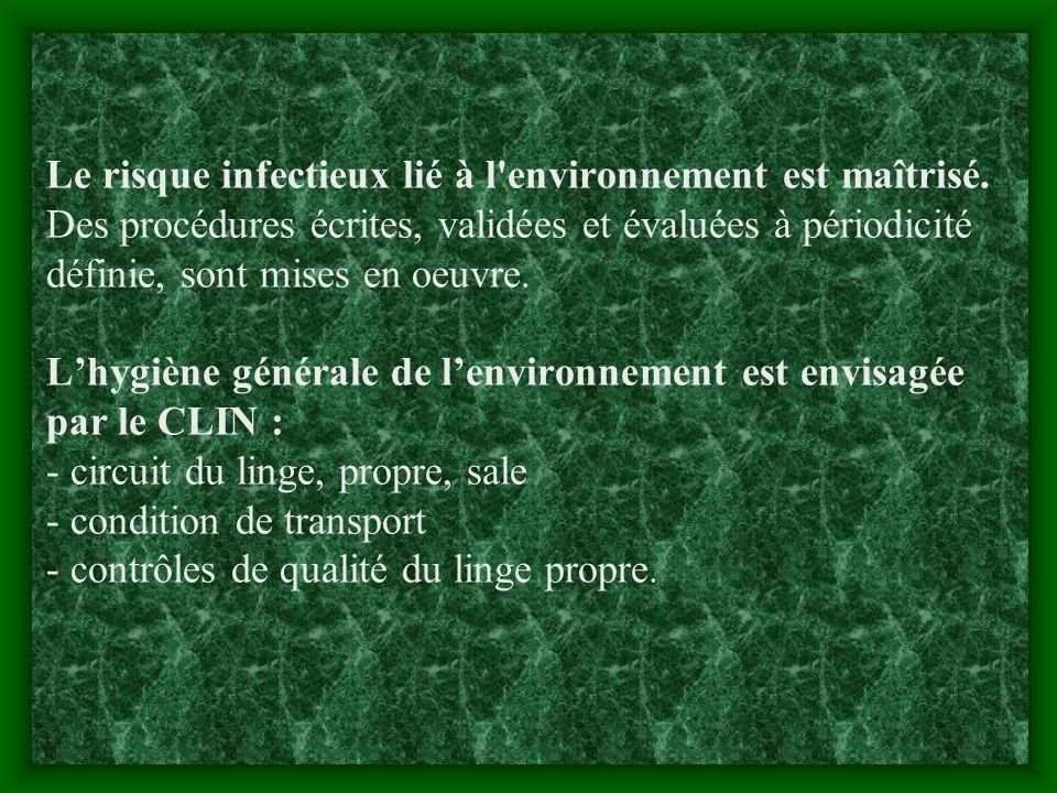 Le risque infectieux lié à l environnement est maîtrisé.