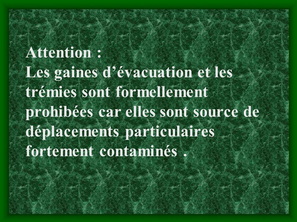 Attention : Les gaines dévacuation et les trémies sont formellement prohibées car elles sont source de déplacements particulaires fortement contaminés.