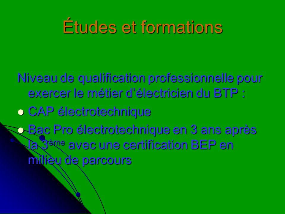 Études et formations Niveau de qualification professionnelle pour exercer le métier délectricien du BTP : CAP électrotechnique CAP électrotechnique Ba