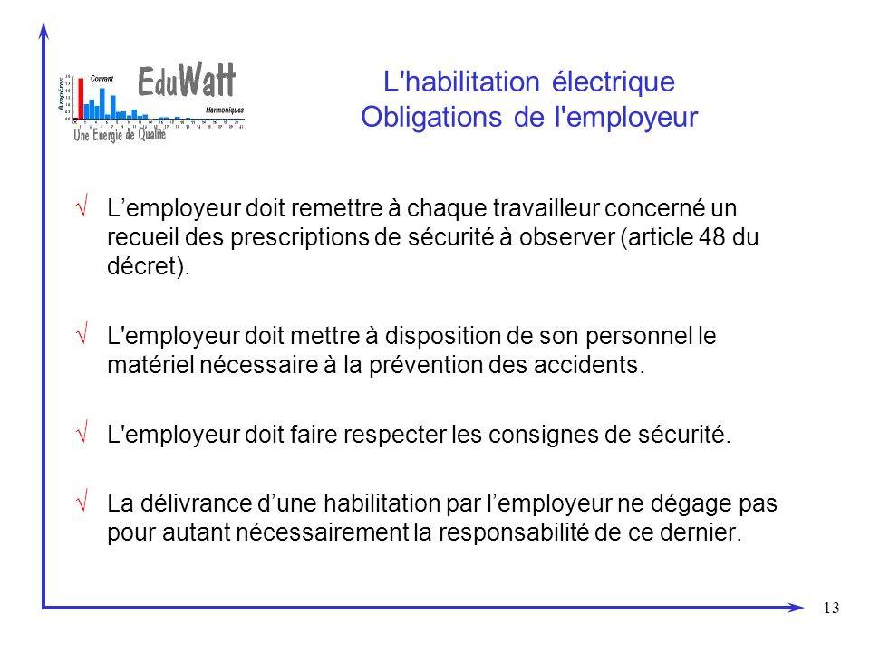13 L habilitation électrique Obligations de l employeur Lemployeur doit remettre à chaque travailleur concerné un recueil des prescriptions de sécurité à observer (article 48 du décret).