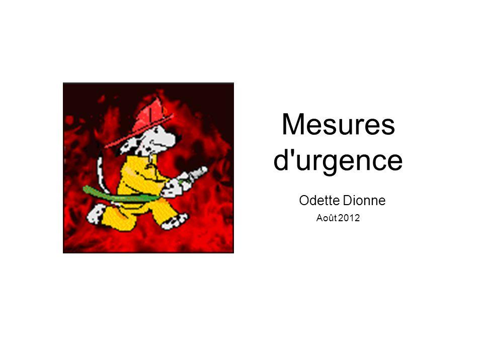 Mesures d'urgence Odette Dionne Août 2012