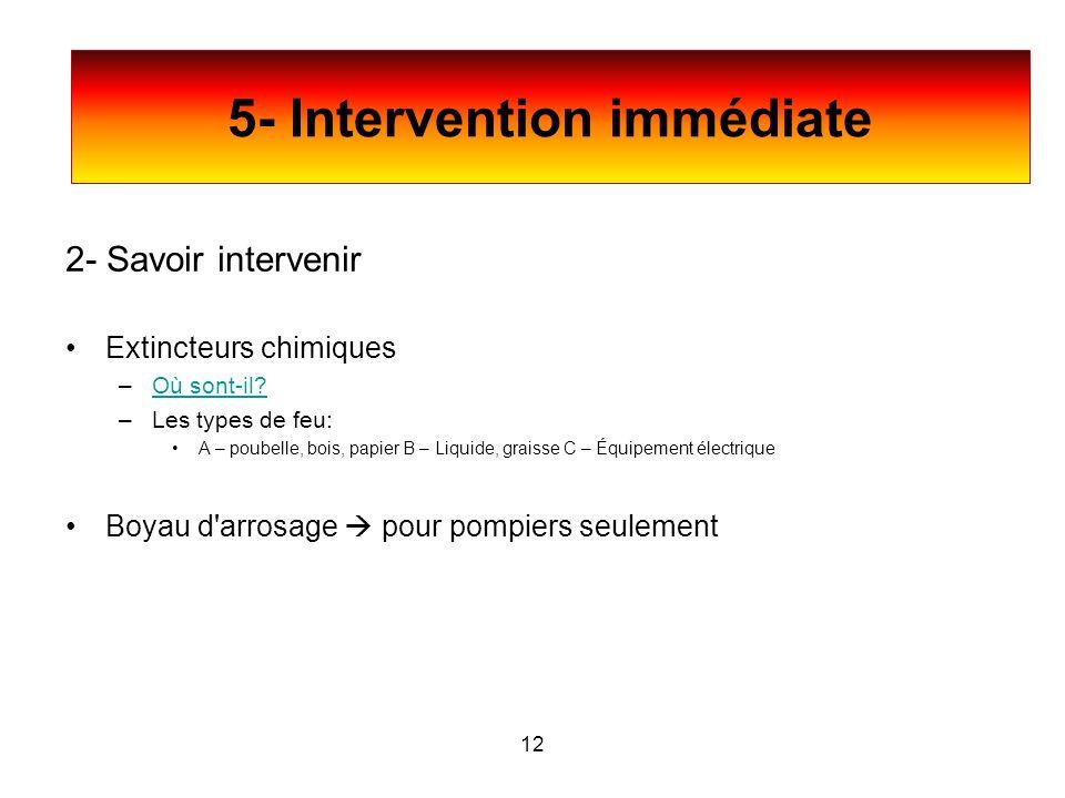 5- Intervention immédiate 2- Savoir intervenir Extincteurs chimiques –Où sont-il?Où sont-il? –Les types de feu: A – poubelle, bois, papier B – Liquide