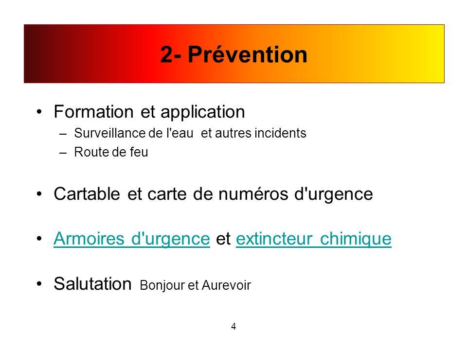 Formation et application –Surveillance de l'eau et autres incidents –Route de feu Cartable et carte de numéros d'urgence Armoires d'urgence et extinct