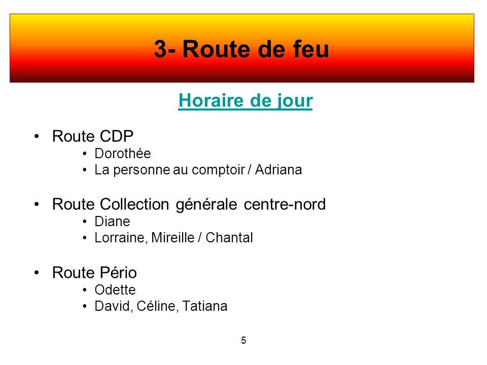 Horaire de jour Route CDP Dorothée La personne au comptoir / Adriana Route Collection générale centre-nord Diane Lorraine, Mireille / Chantal Route Pé