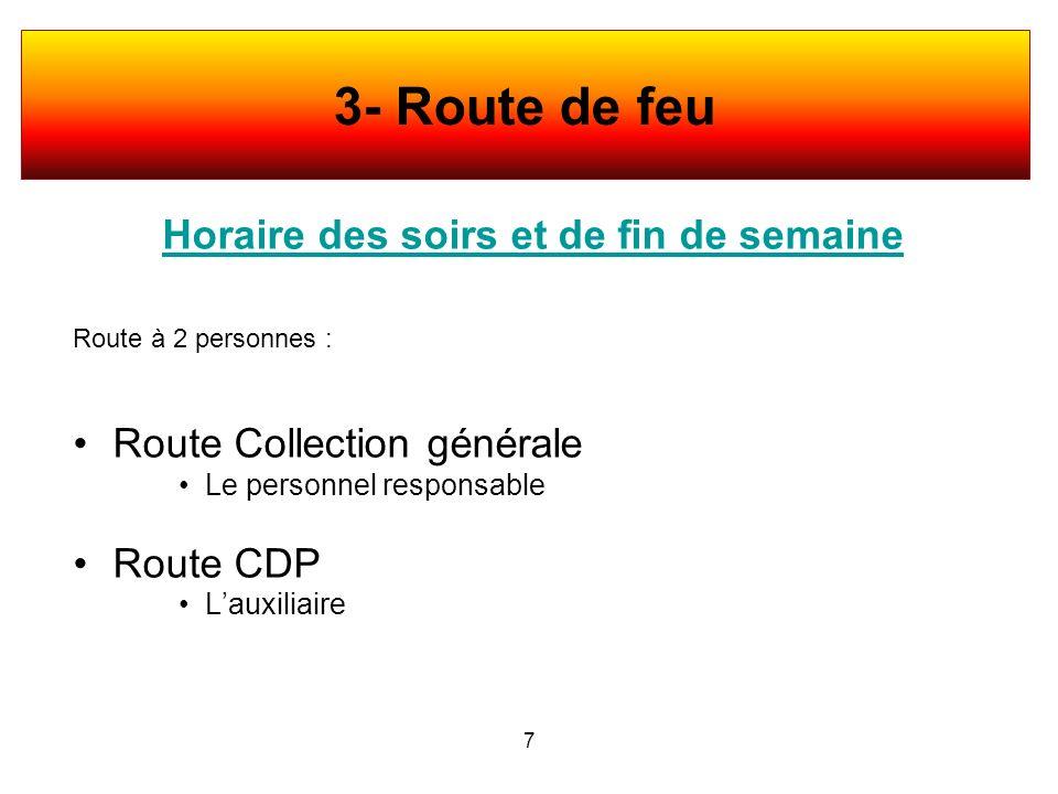 Horaire des soirs et de fin de semaine Route à 2 personnes : Route Collection générale Le personnel responsable Route CDP Lauxiliaire 7 3- Route de fe