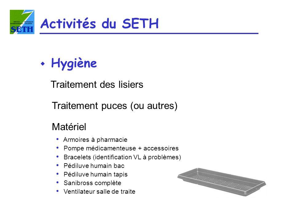 Activités du SETH w Hygiène Traitement des lisiers Traitement puces (ou autres) Matériel Armoires à pharmacie Pompe médicamenteuse + accessoires Brace