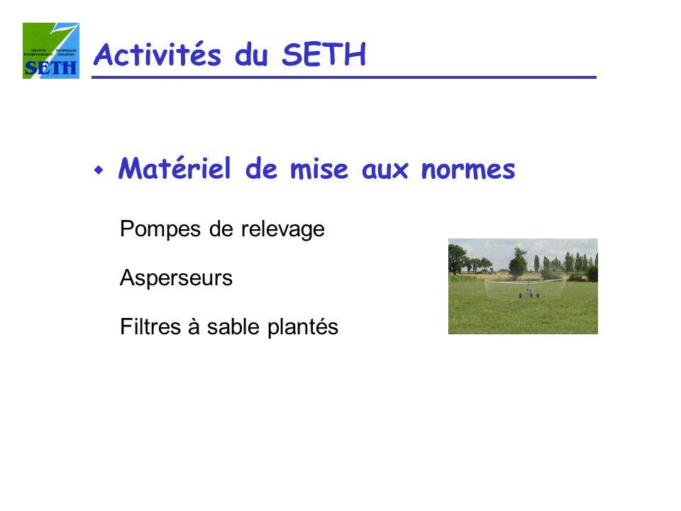 Activités du SETH w Matériel de mise aux normes Pompes de relevage Asperseurs Filtres à sable plantés