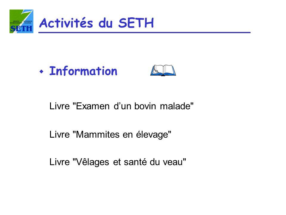 Activités du SETH w Information Livre