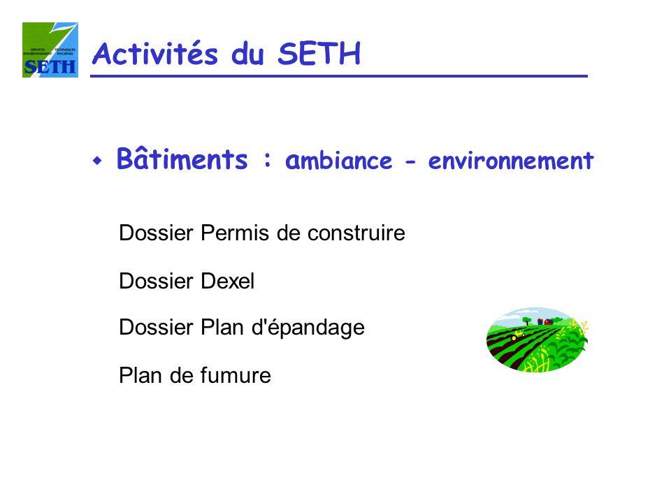 Dossier Permis de construire Dossier Dexel Dossier Plan d'épandage Plan de fumure Activités du SETH w Bâtiments : a mbiance - environnement