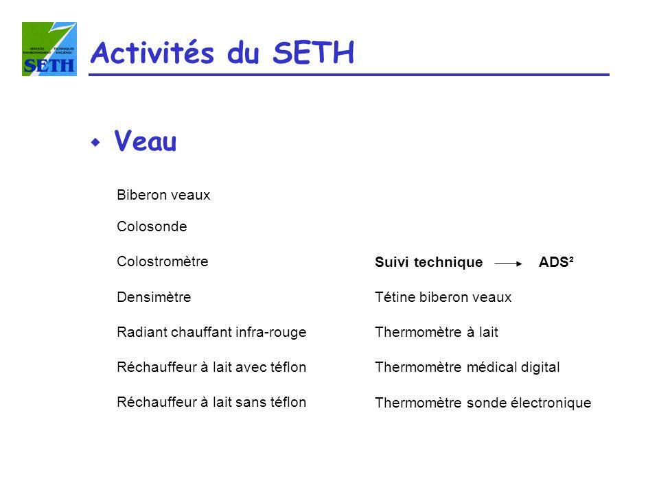 Activités du SETH w Veau Biberon veaux Colosonde Colostromètre Densimètre Radiant chauffant infra-rouge Réchauffeur à lait avec téflon Réchauffeur à l