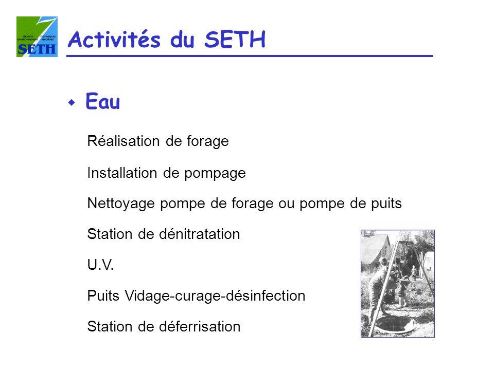 Activités du SETH w Eau Réalisation de forage Installation de pompage Nettoyage pompe de forage ou pompe de puits Station de dénitratation U.V. Puits
