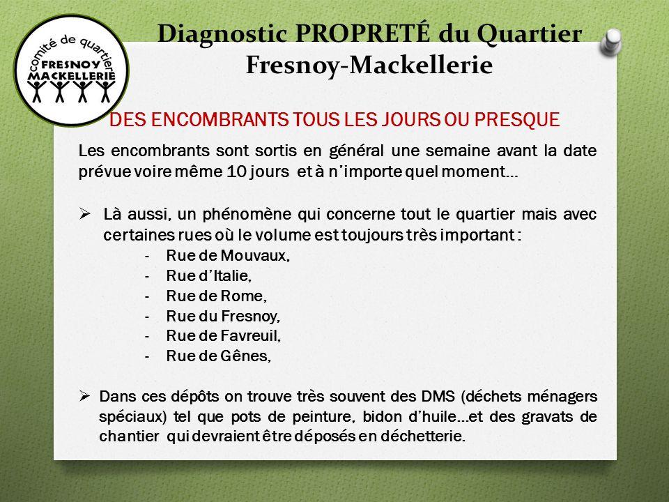 Diagnostic PROPRETÉ du Quartier Fresnoy-Mackellerie De TROP nombreux dépôts sauvages….