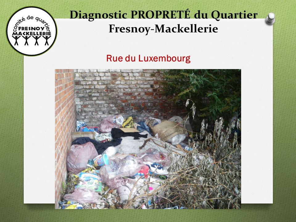 Diagnostic PROPRETÉ du Quartier Fresnoy-Mackellerie Rue du Luxembourg