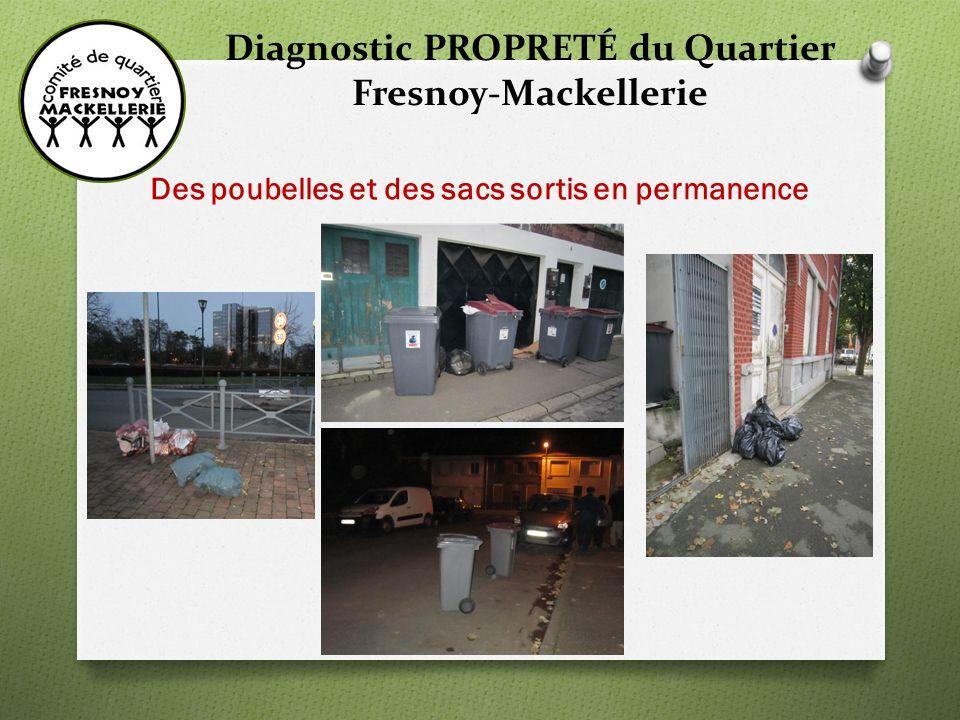 Diagnostic PROPRETÉ du Quartier Fresnoy-Mackellerie Des poubelles et des sacs sortis en permanence