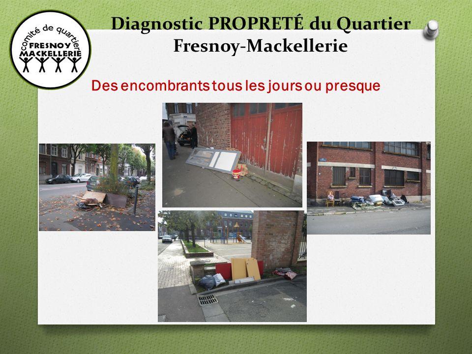 Diagnostic PROPRETÉ du Quartier Fresnoy-Mackellerie DES ENCOMBRANTS TOUS LES JOURS OU PRESQUE Les encombrants sont sortis en général une semaine avant la date prévue voire même 10 jours et à nimporte quel moment… Là aussi, un phénomène qui concerne tout le quartier mais avec certaines rues où le volume est toujours très important : -Rue de Mouvaux, -Rue dItalie, -Rue de Rome, -Rue du Fresnoy, -Rue de Favreuil, -Rue de Gênes, Dans ces dépôts on trouve très souvent des DMS (déchets ménagers spéciaux) tel que pots de peinture, bidon dhuile…et des gravats de chantier qui devraient être déposés en déchetterie.
