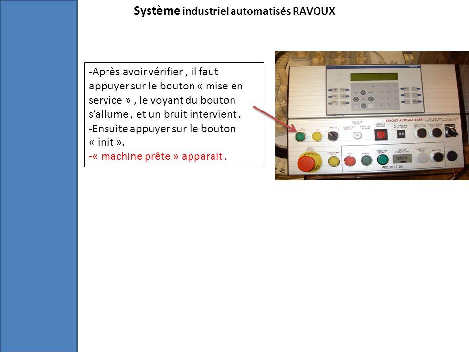 Système industriel automatisés RAVOUX -Après avoir vérifier, il faut appuyer sur le bouton « mise en service », le voyant du bouton sallume, et un bruit intervient.