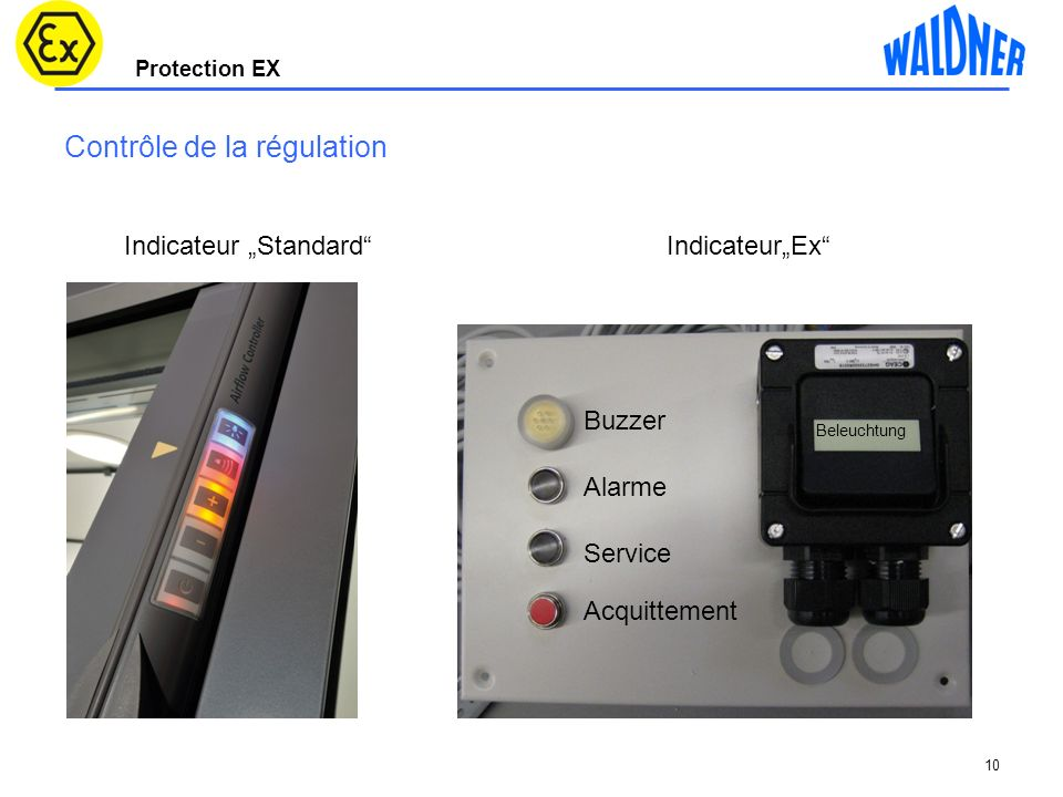 Protection EX 10 Contrôle de la régulation Buzzer Alarme Service Acquittement Beleuchtung Indicateur StandardIndicateurEx