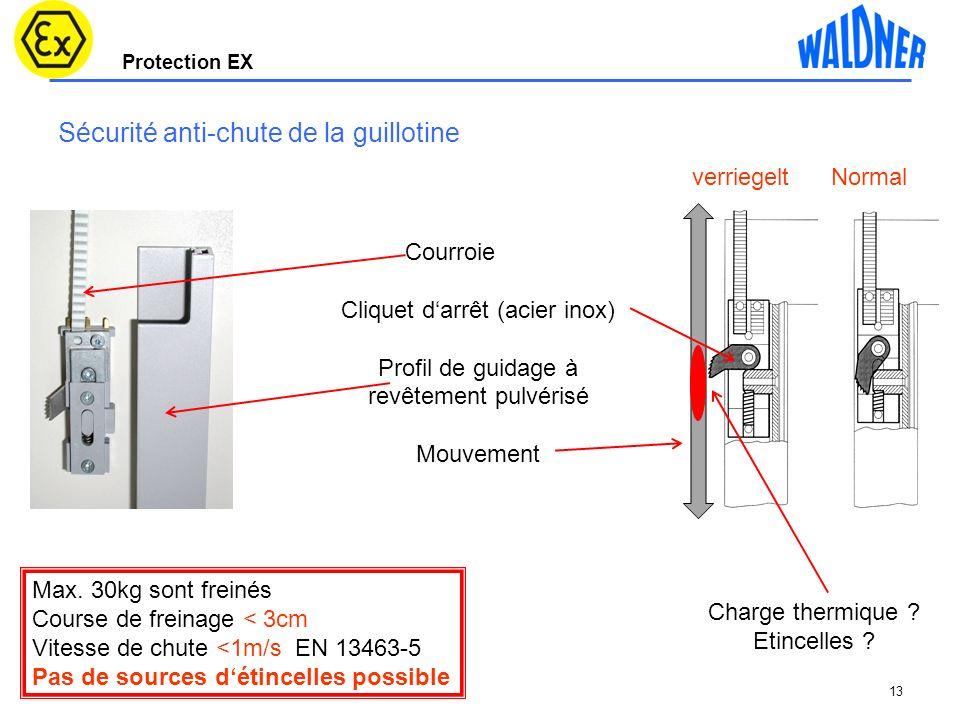 Protection EX Sécurité anti-chute de la guillotine 13 Courroie Cliquet darrêt (acier inox) Profil de guidage à revêtement pulvérisé Mouvement verriege