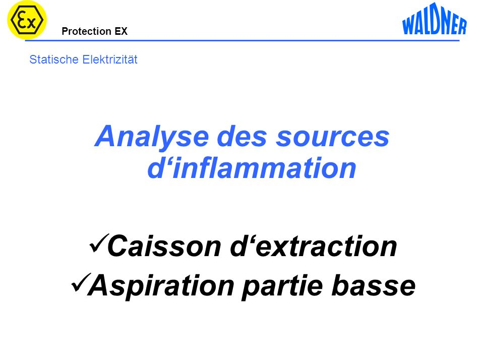 Protection EX Statische Elektrizität Analyse des sources dinflammation Caisson dextraction Aspiration partie basse