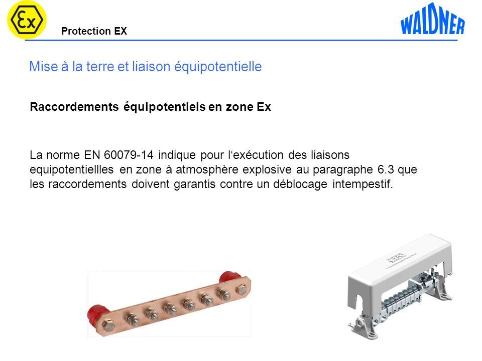 Protection EX Mise à la terre et liaison équipotentielle Raccordements équipotentiels en zone Ex La norme EN 60079-14 indique pour lexécution des liai